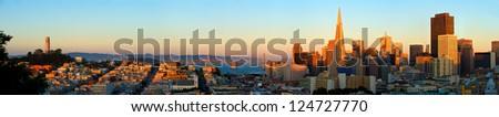 San Francisco. Image of San Francisco skyline with Bay Bridge - stock photo