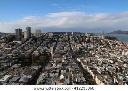 San Francisco is a popular tourist destination known for its cool summer, fog, steep rolling hills, eclectic mix of architecture. - stock photo
