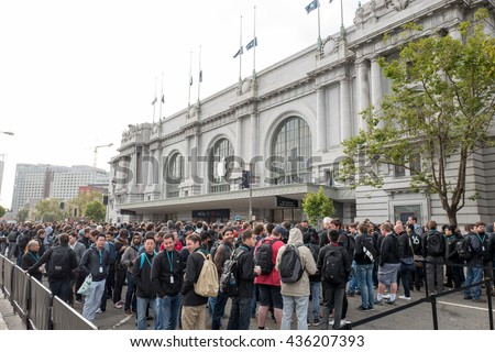 San Francisco - Jun 13th, 2016: People queueing for the Apple Worldwide Developers Conference at the historic Bill Graham Civic Auditorium.