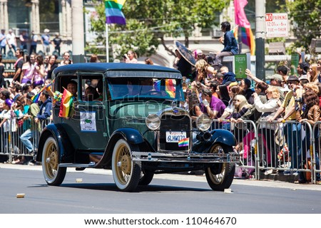 SAN FRANCISCO - JUNE 24: Classic Ford A at San Francisco Gay Pride Parade 2012. It is one of the largest gathering of LGBT people and allies in the USA. June 24, 2012 in San Francisco - stock photo