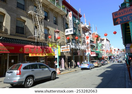 SAN FRANCISCO - MAR 15: Antique Chinese style building on Grant Avenue on March 15th, 2014 in Chinatown, San Francisco, California, USA.