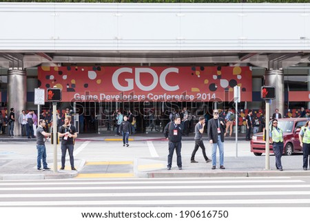 SAN FRANCISCO - MARCH 20: GDC 2014 entrance, the most important conference about videogames development in the world at the Moscone Centre on March 20, 2014 in San Francisco, CA - stock photo