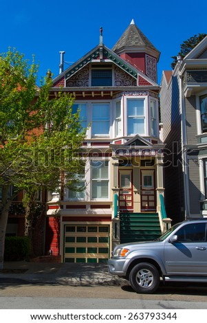 SAN FRANCISCO - March 2015: Historic victorian house in San Francisco, CA - stock photo