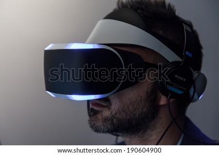 SAN FRANCISCO - MARCH 20: Sony unveiling Morpheus, its Virtual Reality headset for PlayStation 4 for the first time at GDC 2014 on March 20, 2014 in San Francisco, CA - stock photo