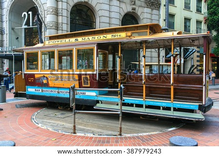 SAN FRANCISCO - MAY 31, 2009: A cable car turns around at the end of its line (Powell / Market st.) on MAY 31, 2009 in San Francisco.