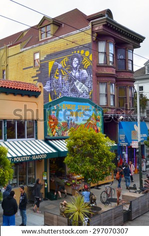 SAN FRANCISCO - MAY 19 2015:Jimi Hendrix mural in Haight-Ashbury San Francisco.Haight-Ashbury is one of the most famous neighborhoods in San Francisco for its role as a center of 1960s hippie movement