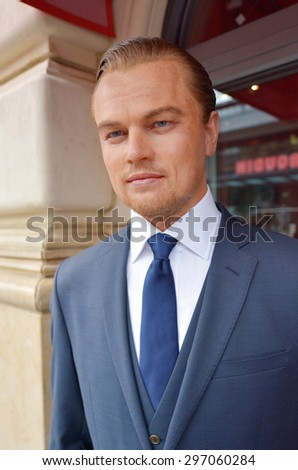 SAN FRANCISCO - MAY 18 2015:Leonardo DiCaprio wax figure outside Madame Tussauds museum.He's an American actor and film producer, nominated for 10 Golden Globe Awards winning 2 and 5 Academy Awards - stock photo