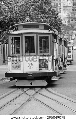 SAN FRANCISCO - MAY 15 2015:Powell-Hyde line cable cars in San Francisco, CA. The cable cars are listed on the National Register of Historic Places. - stock photo