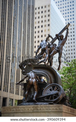 SAN FRANCISCO MAY 2: The Mechanics Monument is a bronze sculpture group by Douglas Tilden on May 2nd, 2015 in San Francisco, California, United States