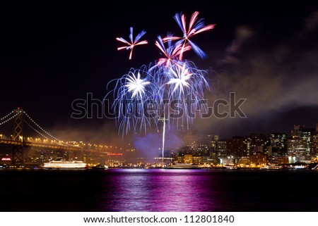 San Francisco New Year Fireworks 2012 - stock photo