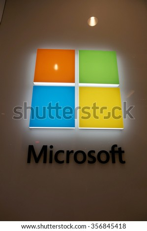 SAN FRANCISCO - OCTOBER 11:  Microsoft Windows Store Logo in San Francisco who's technology is in most modern computers  in San Francisco on October 11, 2015. - stock photo