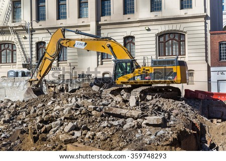 SAN FRANCISCO: October 19 2015 - Old building is being demolished in San Francisco, CA