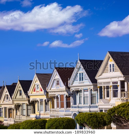 San Francisco Painted Ladies Victorian houses in Alamo Square at California USA - stock photo