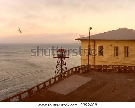 San Francisco's Alcatraz Island at early evening... - stock photo
