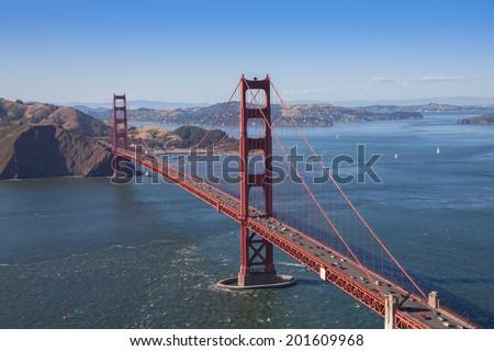 San Francisco's historic Golden Gate Bridge - stock photo
