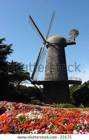 San Francisco's historical Dutch Windmill - stock photo
