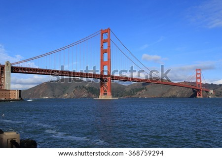 San Francisco's iconic Golden Gate Bridge, constructed in 1937. - stock photo