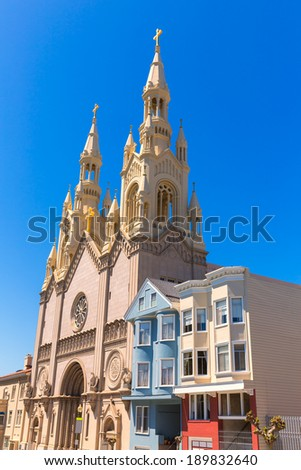 San Francisco Saints Peter and Paul Church at Washington Square in Filbert St California USA