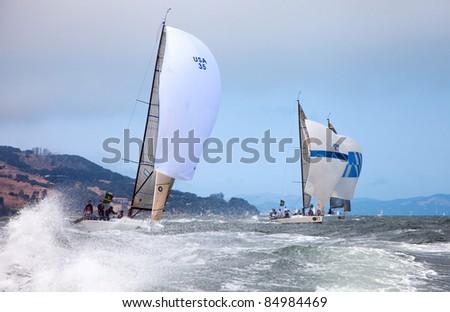 SAN FRANCISCO - SEPT 10: Rolex Big Boat Series, Race 5, Sept 10, 2011, San Francisco. Farr 30 World Championship on downwind course. - stock photo