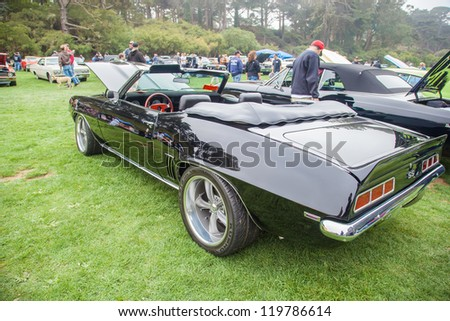 SAN FRANCISCO - SEPTEMBER 29: A 1969 Chevrolet Camaro SS Convertible  is on display during the 2012 Jimmy's Old Car Picnic in Golden Gate Park in San Francisco on September 29, 2012