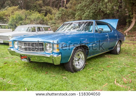 SAN FRANCISCO - SEPTEMBER 29: A 1971 Chevrolet Chevelle Malibu 350 4 door is on display during the 2012 Jimmy's Old Car Picnic in Golden Gate Park in San Francisco on September 29, 2012 - stock photo