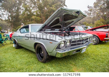 SAN FRANCISCO - SEPTEMBER 29: A 1969 Chevrolet Chevelle SS 396 is on display during the 2012 Jimmy's Old Car Picnic in Golden Gate Park in San Francisco on September 29, 2012 - stock photo