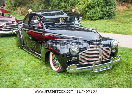 SAN FRANCISCO - SEPTEMBER 29: A 1948 Chevrolet Master Deluxe is on display during the 2012 Jimmy's Old Car Picnic in Golden Gate Park in San Francisco on September 29, 2012