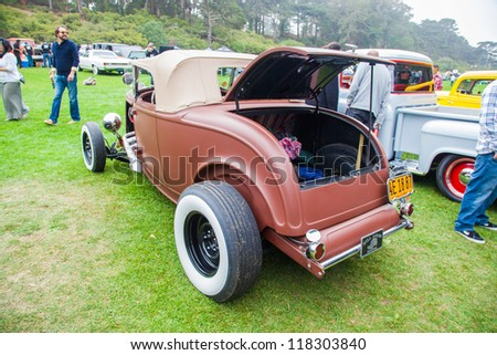 SAN FRANCISCO - SEPTEMBER 29: A 1932 Ford Roadster is on display during the 2012 Jimmy's Old Car Picnic in Golden Gate Park in San Francisco on September 29, 2012