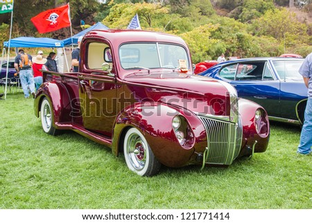 SAN FRANCISCO - SEPTEMBER 29: A 1940's Ford Pickup Truck is on display during the 2012 Jimmy's Old Car Picnic in Golden Gate Park in San Francisco on September 29, 2012 - stock photo