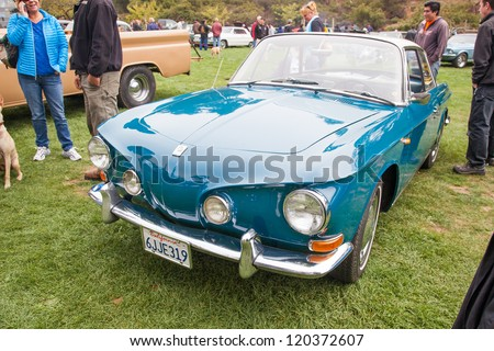 SAN FRANCISCO - SEPTEMBER 29: A Volkswagen Karmann Ghia 1500 is on display during the 2012 Jimmy's Old Car Picnic in Golden Gate Park in San Francisco on September 29, 2012