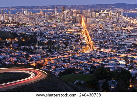 San Francisco Skyline at Night from Twin Peaks - stock photo