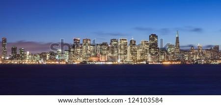San Francisco skyline at night, with holiday season lights. - stock photo