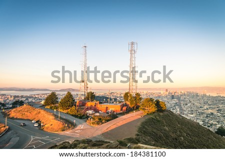 San Francisco skyline from Twin Peaks before Sunset  - stock photo