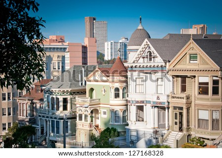 San Francisco street view, California, USA - stock photo