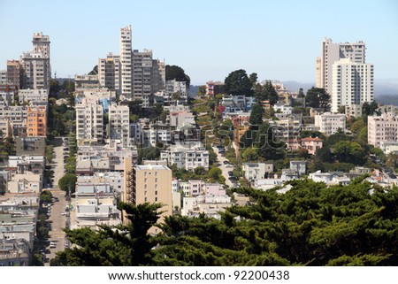 San Francisco street view - includes famous Lombard street  in distance