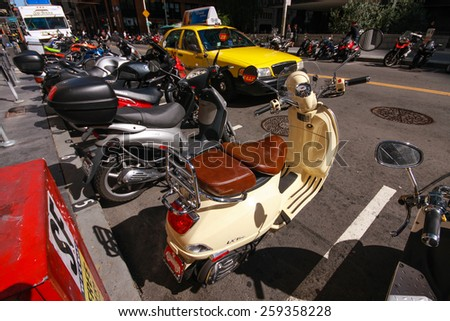 SAN FRANCISCO, US - SEPT 22, 2010: The parking of motorbikes on the street of downtown in San Francisco on Sept 22, 2010. - stock photo