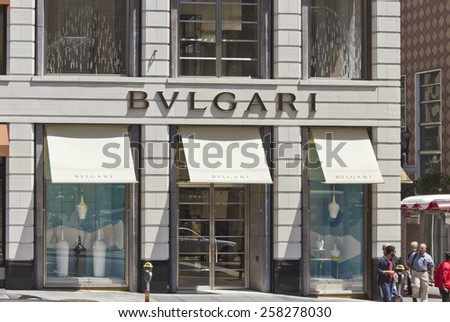 SAN FRANCISCO, USA - AUG 12 2013: Union Square in downtown San Francisco, view of the  Bulgari shop