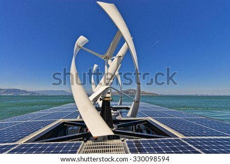 San Francisco, USA, - August 24, 2015:  The solar deck of on of the solar powered vesseels operated by Alcatraz Cruises in the San Francisco Bay. - stock photo