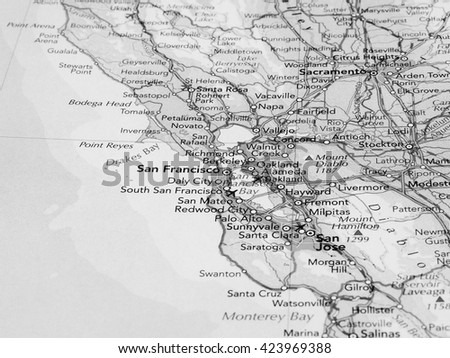 SAN FRANCISCO, USA - CIRCA MAY 2016: Detail of a map of the city with selective focus on San Francisco in black and white - stock photo