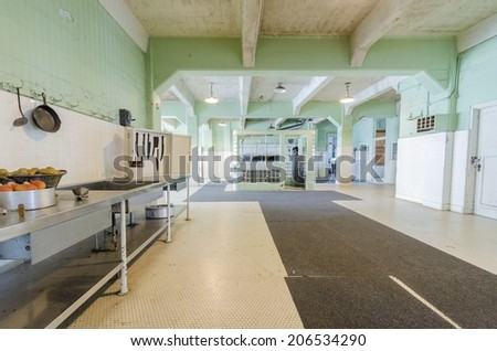 SAN FRANCISCO,USA - FEBRUARY 28 2014: The Dining Hall kitchen that food was prepared for prisoners inside the cellhouse on Alcatraz Penitentiary island,now a museum, in San Francisco, California, USA. - stock photo