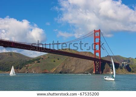 San Francisco, USA, Golden Gate Bridge with sailing boats - stock photo