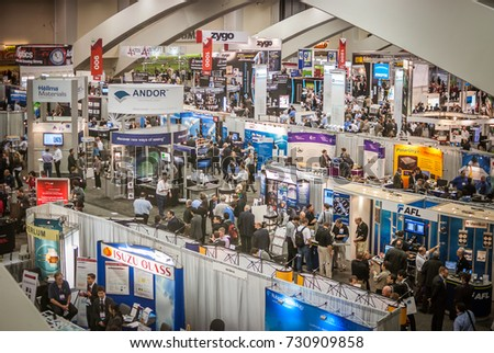 "San Francisco, USA - January 8 2012: The ""Photonics West"" exhibition in Moscone Center, San Francisco."