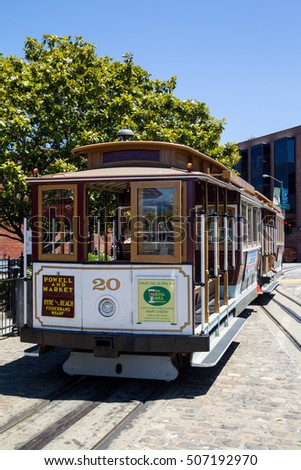 SAN FRANCISCO, USA - JULY 19, 2016: Cable Car of the Powell-Hyde Linie on the Turntable at Hyde Street in Fishermans Wharf, San Francisco, California, USA.