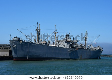 San Francisco; USA - july 13 2016 : liberty ship in the maritime national historical park