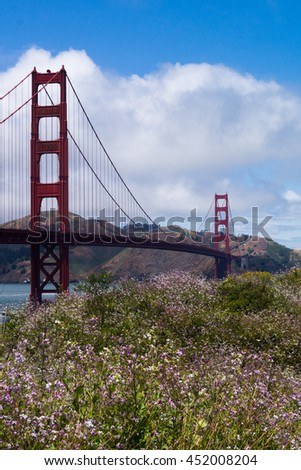 SAN FRANCISCO, USA - JULY 23 2016. The Golden Gate Bridge behind a summer meadow.