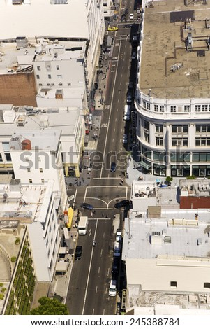 SAN FRANCISCO, USA - JULY 24, 2008: view from the rooftop in San Francisco, USA. The city is the site of over 410 high-rises,44 of which stand taller than 400 feet. - stock photo