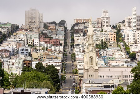 San Francisco, USA, 28 May 2013: Aerial view of interesting town layout and quiet street.
