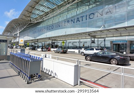 SAN FRANCISCO, USA - MAY 16 2015:San Francisco International Airport.SFO is the largest airport in the San Francisco Bay Area and the second busiest in California, after Los Angeles International Airport. - stock photo