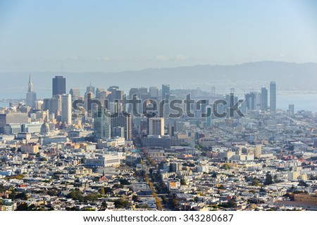 SAN FRANCISCO, USA - OCT 5, 2015: Aerial view of San Francisco from the Twin Peaks observation point. San Francisco is the cultural, commercial, and financial center of Northern California