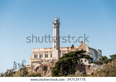 SAN FRANCISCO, USA - OCT 5, 2015:  Alcatraz Island, location of the Alcatraz Federal Penitentiary, USA. It was a maximum high-security Federal prison from 1934 to 1963